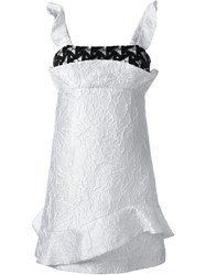 Msgm Lace Detail Structured Dress White