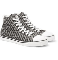 Vetements Printed Canvas High Top Sneakers Black