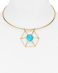 Volu Geometric Pendant Choker Necklace Turquoise Gold
