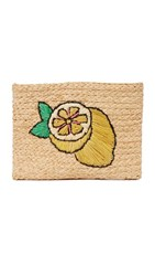 Hat Attack Embroidered Clutch Lemon