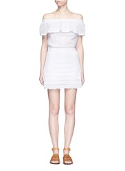 Valentino Guipure Lace Panel Crochet Off Shoulder Romper Dress White