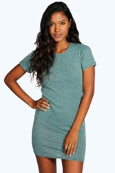 Boohoo Short Sleeved Ribbed Bodycon Dress Mint