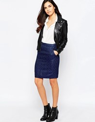 Jovonna Harrah Pencil Skirt In Jacquard Blue