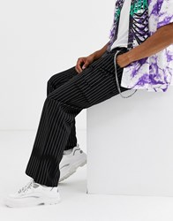 Jaded London Tailored Cargo Trousers In Black Pinstripe With Chain