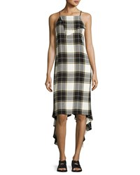 Public School Lilu Sleeveless Plaid Dress Yellow White Gray Multi