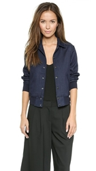 7 For All Mankind Indigo Bomber Jacket Indigo Rinse