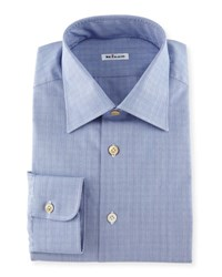 Kiton Glen Plaid Woven Dress Shirt Blue