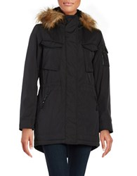 S13 Faux Fur Trimmed Sherpa Lined Field Parka Black