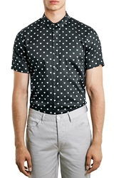 Topman Slim Fit Short Sleeve Heart Print Shirt Black