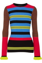 Opening Ceremony Striped Ribbed Knit Sweater Azure