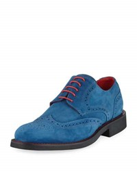 Bugatchi Arezzo Suede Lace Up Oxford Blue