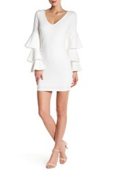 Just Me Tiered Sleeve Bodycon Dress Beige