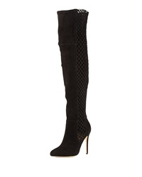 Alexandre Birman Stretch Suede And Crochet Over The Knee Boot