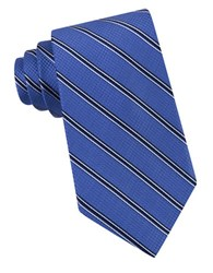 Michael Michael Kors Houndstooth Striped Silk Tie Blue