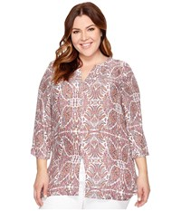 B Collection By Bobeau Curvy Plus Size Hadil Woven Kaftan Leafy Print Women's Long Sleeve Button Up Pink