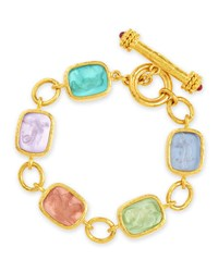 Elizabeth Locke Antique Animals Intaglio 19K Toggle Bracelet Pastel Multicolor