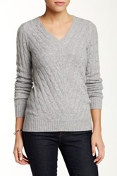 Sofia Cashmere Cable V Neck Cashmere Sweater Gray