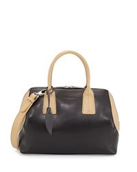Charles Jourdan Dacey Two Tone Leather Satchel Bag Tan Black