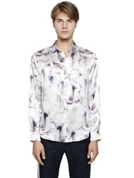 Iceberg Rose Printed Silk Satin Shirt White Blue