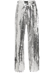 Dima Ayad Wide Leg Flared Trousers Silver