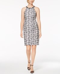 Nine West Embellished Halter Sheath Dress Black White