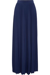 Michael Michael Kors Perma Pleated Stretch Jersey Maxi Skirt Navy