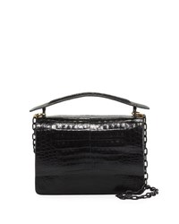 Nancy Gonzalez Crocodile Top Handle Bag W Chain Strap Black