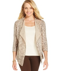 Alfred Dunner Textured Animal Print Cardigan Champagne
