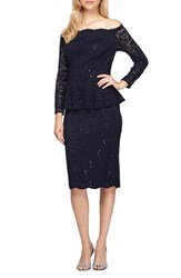 Alex Evenings Women's Mock Two Piece Sequin Lace Peplum Sheath Dress