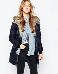 Pull And Bear Parka With Faux Fur Lining Marino