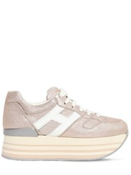 Hogan 70Mm Maxi 222 Lame Leather Sneakers Pink