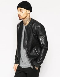Religion Exclusive Faux Leather Jacket Bomber Black