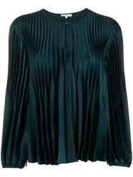Vince Satin Pleated Blouse Green