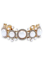 Elizabeth Cole 24 Karat Gold Plated Faux Pearl And Crystal Cuff White