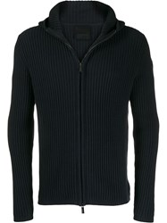 Rrd Ribbed Zip Up Cardigan Blue