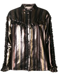 Black Coral Ruffle Detail Blouse Metallic