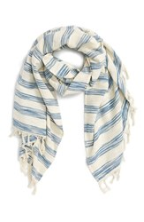 Women's Sole Society Stripe Fringed Cotton Scarf
