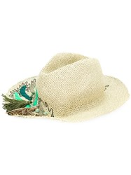 Le Chapeau Embroidered Leaf Hat Green