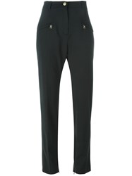 Pierre Balmain High Waist Slim Trousers Black