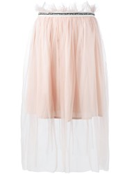 Mother Of Pearl Embellished Tulle Skirt Pink Purple