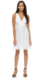 Marchesa Voyage Ruffle Hem Dress White