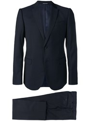Emporio Armani Patterned Single Breasted Suit Blue