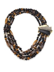 Alexis Bittar Lakana Lucite Tiger's Eye Black Onyx Smokey Quartz And Lava Rock Four Strand Necklace Gold Brown