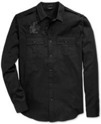 Guess Men's Twill Embroidered Military Shirt Jet Black