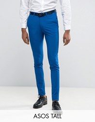 Asos Tall Super Skinny Suit Trousers In Royal Blue Royal Blue