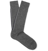 Thom Browne Striped Ribbed Cotton Socks Gray