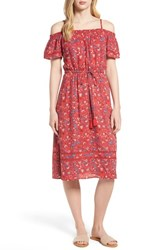 Lucky Brand Off The Shoulder Floral Dress Red Multi