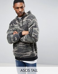 Asos Tall Oversized Hoodie In Washed Camo Camo Green