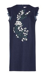Giuseppe Di Morabito Floral Embroidered Denim Dress Navy