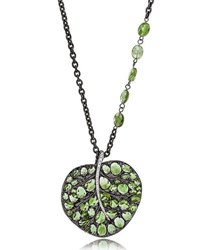 Michael Aram Botanical Leaf Pendant Necklace With Peridot And Diamonds